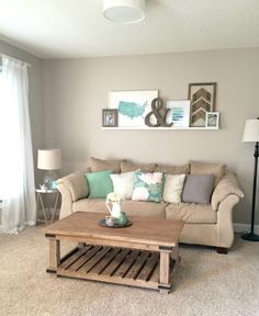 Front Room Reveal Full View, Coastal Blues and Greens With Rustic Wood and White, Painted Hutch