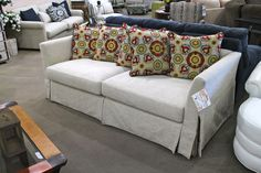 Sofa w/ Floral Pillows - Colleen's Classic Consignment, Las Vegas, NV - https://cccfurnishings.com