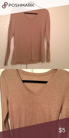Tan Old Navy Perfect Tee Good condition. V-neck, Long Sleeve, form fitting Tee. Old Navy Tops Tees - Long Sleeve