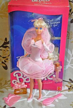 Perfume Pretty Barbie - I never had my own but I  did play with a friend's. I THINK the skirt became long a lot easier than it became short again.