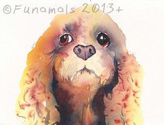 Cocker Spaniel Watercolor Original Painting by Amy by Funamals, $58.00  I like this one, very playful & cute yet soulful too.