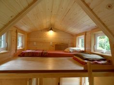 """smallandtinyhomeideas: """" Sunday night and wondering who might be snuggled up in one of these: The """"Ynez"""" is a tiny house designed and built by Todd Miller and The Oregon Cottage Company. Really love the serious craftsmanship in balance with..."""