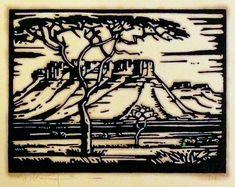 JH Pierneef, Linocut, 150 x 200 mm, Doringboom - Landscape Mural Painting, Artist Painting, African Paintings, South African Artists, Old Master, Tribal Art, Art Prints, Lino Prints, Art Boards