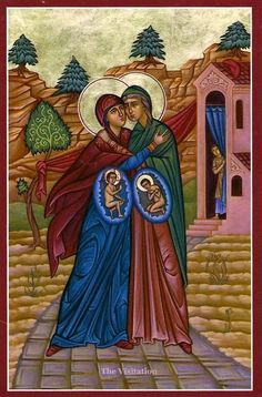 Beautiful icon of the Virgin Mary and Her cousin Elizabeth, pregnant with Jesus Christ and John the Baptist respectively. Byzantine, TX: Orthodox prayers for pregnant mother and unborn child. Orthodox Prayers, Orthodox Christianity, Catholic Beliefs, Catholic Memes, Catholic Art, Roman Catholic, Advent Catholic, Catholic Saints, Blessed Mother Mary
