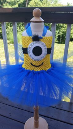 Minion Inspired Tutu Dress - Halloween Costume - Toddler Sizes by MonkeyPantsPartyHats on Etsy