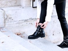 Zara combat boots with pearls
