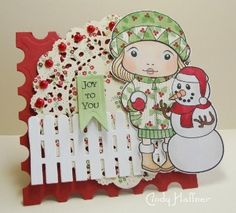 Marci with Snowman Rubber Stamp