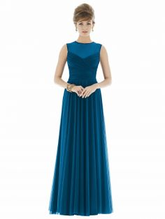 Full length sleeveless chiffon knit dress w  draped bodice and sheer yoke  detail. Modified 18b6e5aac0e8