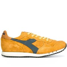 Diadora tonal lace-up sneakers (220 CAD) ❤ liked on Polyvore featuring men's fashion, men's shoes, men's sneakers, yellow, mens lace up shoes, diadora mens shoes, mens yellow shoes, mens leather sneakers and mens leather lace up shoes