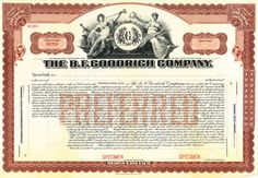 B F Goodrich Company stock certificate