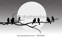 vector silhouette birds on branch tree - stock vector