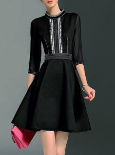 Stand Collar Simple 3/4 Sleeve A-line Mini Dress
