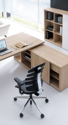 I like the colour of this desk, along with the square shapes and simple lines. The credenza has a nice design with shelves and drawers hidden by the sliding door. Law Office Design, Law Office Decor, Office Table Design, Home Office Layouts, Office Furniture Design, Workspace Design, Office Interior Design, Home Decor Furniture, Office Interiors