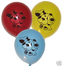balloons, ill buy blue baloons, and some green ones.  and then draw paw prints on them