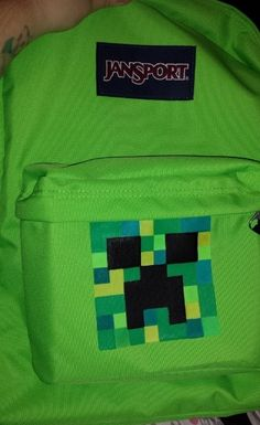 """I made this for my son, because ALL of the """"Minecraft"""" backpacks were not that great. And I also wanted a good brand, so I bought a Jansport, hoping it would hold up! I did make a stenc… Minecraft Backpack, How To Make Stencils, Minecraft Party, Back To School, School Stuff, Jansport Backpack, Best Brand, Diy Ideas, Craft Ideas"""