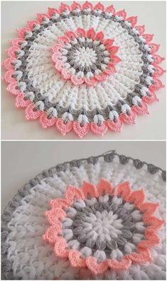 Crochet Doilies, Crochet Flowers, Crochet Hats, Doily Patterns, Crochet Patterns, Big Knit Blanket, Jumbo Yarn, Crochet Flower Tutorial, Big Knits