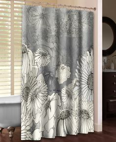 Flowers on Grey Shower Curtain – Laural Home