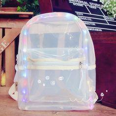 "Kawaii students LED lighting transparent backpack Coupon code ""cutekawaii"" for 10% off"