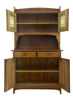 late 19th century oak arts and crafts cabinet - photo angle #2