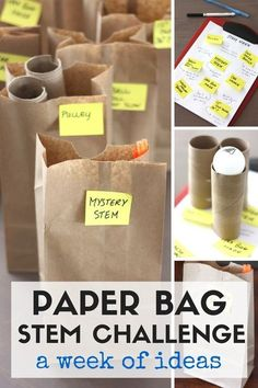 7 Paper Bag STEM Challenge Ideas Fun paper bag STEM challenges for a week of STEM activities. STEM challenges for kindergarten and grade school age kids. Activities use simple supplies and recycled items. Stem Science, Preschool Science, Teaching Science, Science For Kids, Science Experiments, Science Ideas, Teaching Ideas, Elementary Science, Science Week