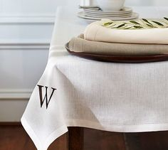 Pottery Barn Classic Linen Tablecloth Initial