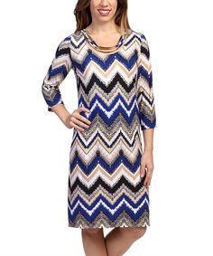 Loving this Navy & Beige Zigzag Embellished Dress on #zulily! #zulilyfinds