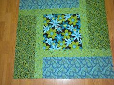 Baby quilt/ Modern aqua blue and lime green by prazequilts on Etsy  Starting at $50. Great gifts for new baby or baby showers.