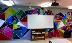tape, colors, shapes - good mural for art room walls Classroom Wall Decor, Classroom Walls, Classroom Design, Art Classroom Jobs, Classroom Organization, Classroom Ceiling Decorations, Classroom Procedures, High School Art, Middle School Art