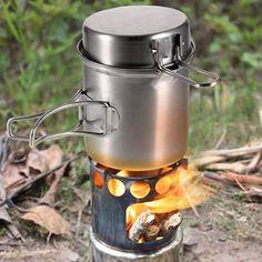 ZZFF Extérieur Camping Batterie De Cuisine Kit avec PoêleProtable Pique-Nique Ensemble De CuissonLéger Champ Survie Équipement pour Voyage sur La Route Randonnée Véhicule Argent