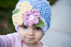 "Adorable crocheted hat for baby ... ""Bouquet Beanie"" pattern by Cyprianne Nolan available to buy ... #Crochet"