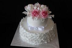 Svadobná bielo ružova , svadobné torty   Tortyodmamy.sk