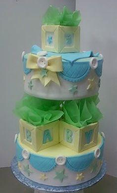 Love the blocks! (secretly hiding the standard pillars seperating the cakes)