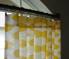 Pair of 50 x 84 Yellow and White Ikat Decorative Designer Custom Curtains Drapes