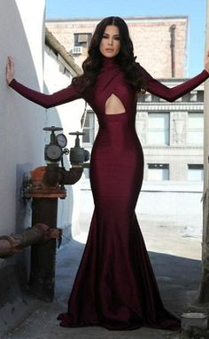 2016  Burgundy High Collar Mermaid Prom Dresses Long Sleeves Open Back Evening Gowns