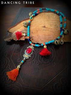 Ethnic Tribal Necklace with Brass Bells and by DancingTribe, $38.00