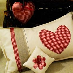HEART canvas and red gingham cushion