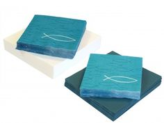 SET: 20+20 Servietten Fisch Petrol Blau Weiß