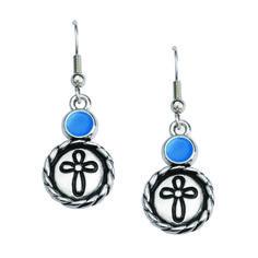 Ribbon Cross Earrings - w/ Rope Edge Cross Earrings, Dangle Earrings, Christian Shirts, Dangles, Ribbon, Personalized Items, Jewelry, Tape, Christian T Shirts
