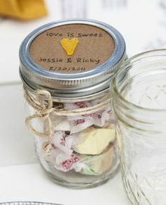 A really cute wedding favor idea!! http://weddings.craftgossip.com/kraft-yellow-mason-jar-favors/