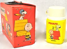 Vintage lunch box and thermos | ... / Vintage Lunch Boxes / Vintage Peanuts Vinyl Lunch Box with Thermos