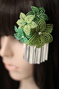 Forest Symphony- French Beaded Flower Bira Kanzashi Hair Clip