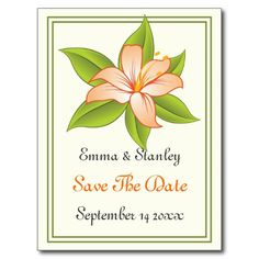 Orange green lily wedding Save the Date Post Cards