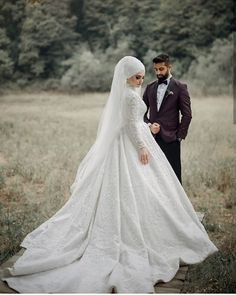We meet some of our brides during engagement times and if they prefer us for wedding dresses, we are very … Muslim Wedding Ceremony, Hijabi Wedding, Wedding Hijab Styles, Red Wedding Dresses, Bridesmaid Dresses, Wedding Outfits, Muslim Brides, Muslim Couples, Wedding Couples