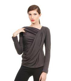 Perfect Winter Top,  Long Sleeve Gray Shirt, Women Blouse. $47.00, via Etsy.