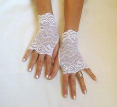 White lace gloves  bride wedding bridesmaid prom  by GlovesByJana