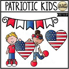 Patriotic Kids FREEBIE (Clip Art for Personal & Commercial Use)