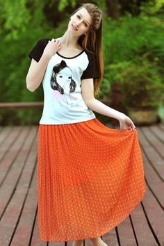 Pleated Printing Calf Length Skirt