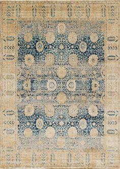 "Loloi Rugs ANASAF-09BBGO2740 Anastasia Collection Area Rug, 2'-7"" x 4', Blue/Gold Loloi Rugs"
