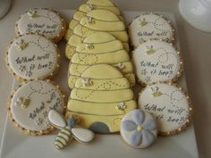 'Honey Bee Baby Shower' - Party Feature - Upon A Time Designs Baby Party, Baby Shower Parties, Baby Shower Themes, Bee Baby Showers, Shower Party, Shower Ideas, Galletas Decoradas Baby Shower, Bee Cookies, Cookies Kids