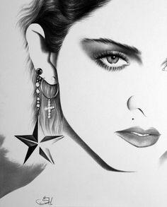 Madonna Fine Art Pencil Drawing Portrait Print by IleanaHunter, $9.99